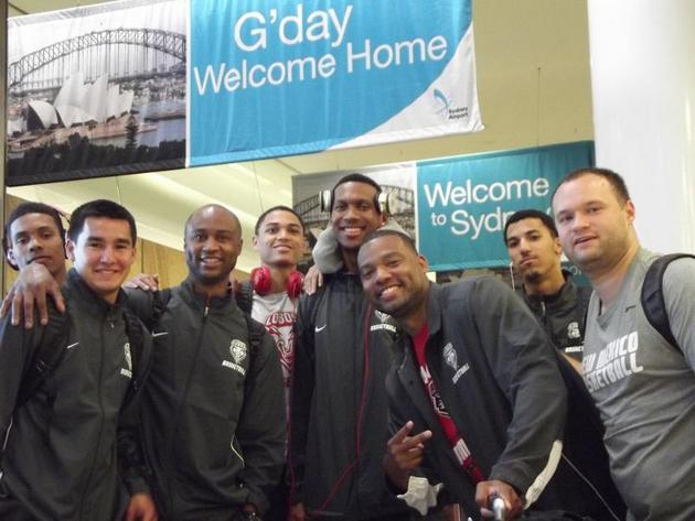 New Mexico arrived in Sydney at 6 a.m. local time Sunday morning (via New Mexico athletics)