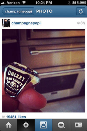 Drake's championship ring (via Instagram)