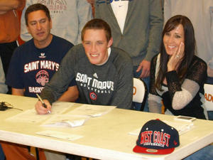 Cullen Neal signs with Saint Mary's last November (via SMCGaels.com)