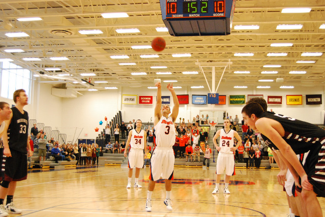 Cory Weissman attempts his second free throw Saturday night. (Tommy Riggs/Gettysburg College)