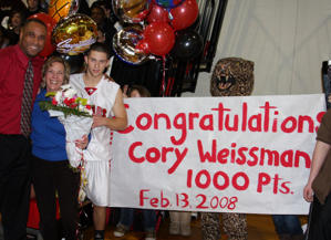 Weissman after eclipsing 1,000 career points at Jackson Memorial High (Jeremy Weissman)