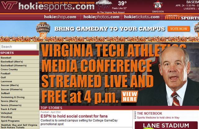 Screen shot of hokiesports.com