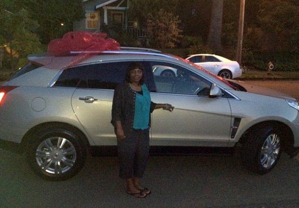 Linda Mashia-Jones and her new car (via @TerrenceJones1)