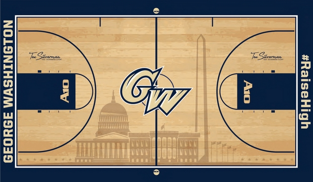George washington s new basketball floor features famous d for Basketball floor layout