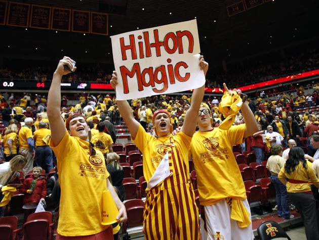 Iowa State students linger at Hilton Coliseum following Iowa State's Saturday upset of No. 5 Kansas. (AP)