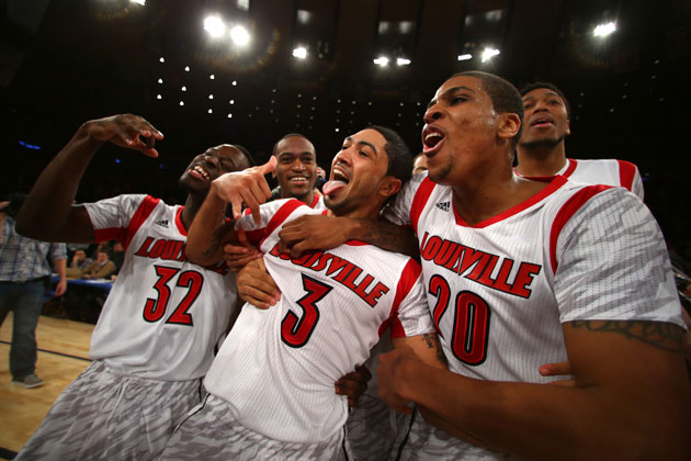 Louisville celebrates their second consecutive Big East Tournament title. (Getty Images)