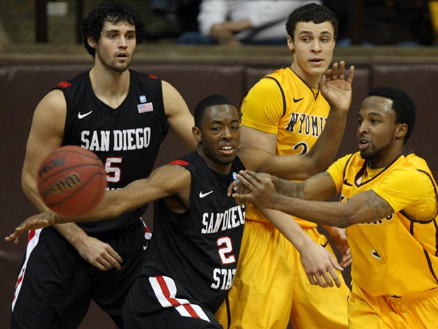 Xavier Thames (2) and San Diego State escaped Wyoming with a crucial 52-42 win. (AP)