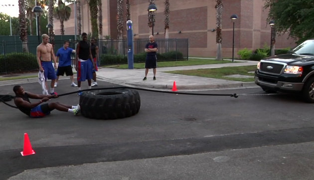 Among the strongman-style workouts Florida did this summer was a truck pull (via Preston Greene)
