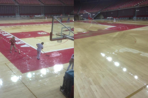 Flooding at Bud Walton Arena (Photos via @_Nick5000)