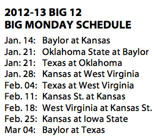 Four appearances from Kansas highlight next year's Big 12 Big Monday slate
