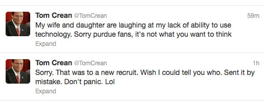 Tom Crean accidentally sends weird tweet not meant for the public to see