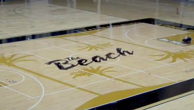Long Beach State's new beach-themed floor features four palm trees
