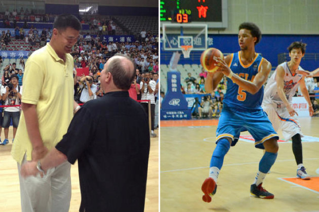 Ben Howland chats with Yao Ming (left) and Kyle Anderson dishes to a teammate (right) (via UCLA athletics)