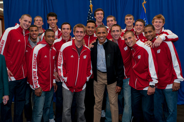Wisconsin players pose with President Obama (Scout Tufankjian for Obama for America)