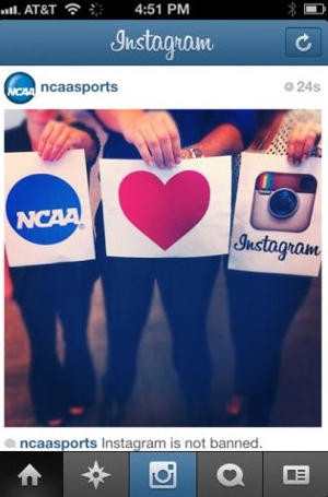 Update: NCAA clarifies its stance on Instagram photos, offers amusing visual proof