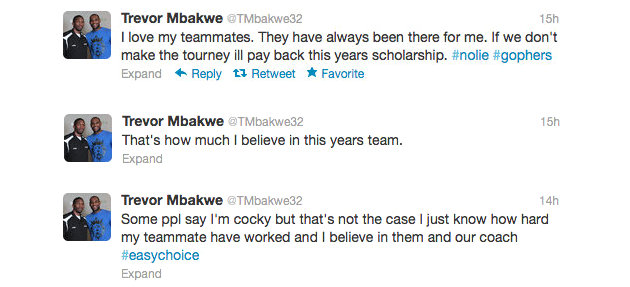 Trevor Mbakwe pledges to refund his scholarship if Minnesota misses the NCAA tournament