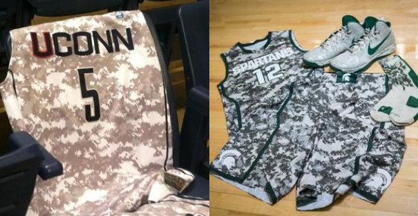 The jerseys UConn and Michigan State will wear Friday (photos via @KevinRDuffy and @MSU_Basketball)