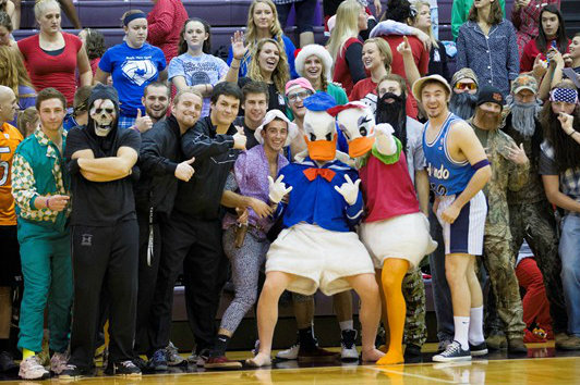 Donald and Daisy Duck pose for the cameras (photo via Taylor Athletics)