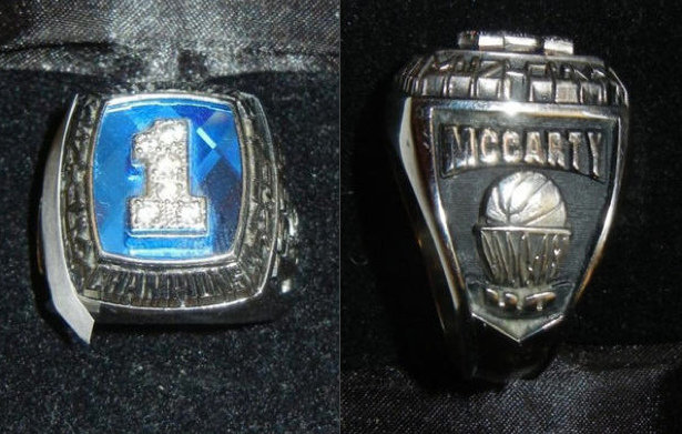 Walter McCarty's school ring (via eBay)