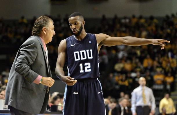 Donte Hill and former Old Dominion coach Blaine Taylor (USA Today Sports Images)