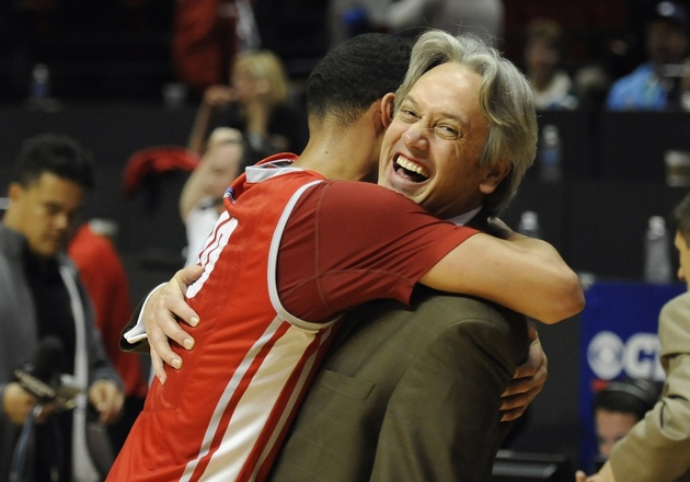 Newly hired New Mexico coach Craig Neal shares a hug with Kendall Williams last season (USA Today Sports Images)