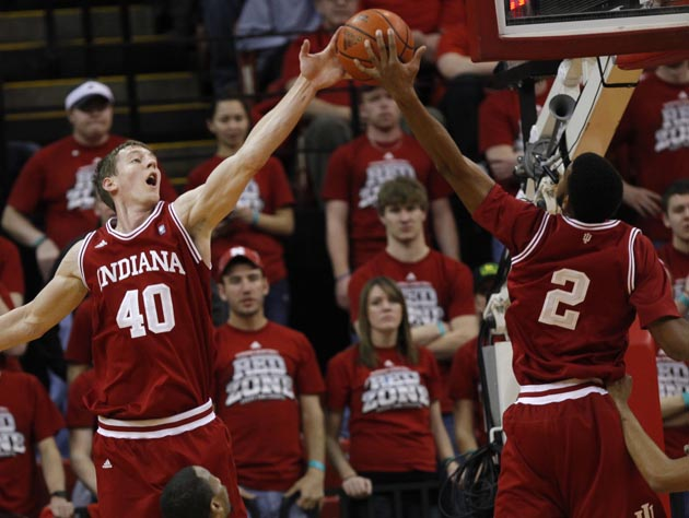 Cody Zeller (40) and Christian Watford (2) are returning to Indiana for another season, helping make the Big Ten college hoops' top league yet again. (AP)