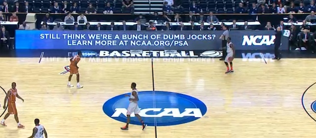 NCAA tournament sites feature sign about 'dumb jocks'