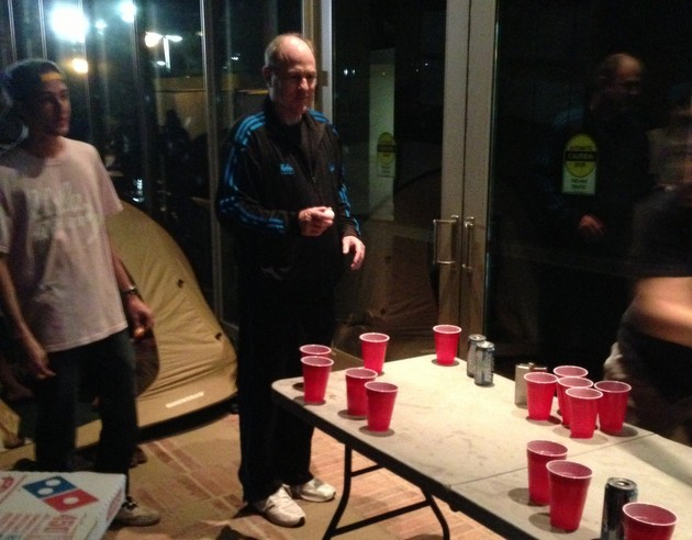 Ben Howland joined in a beer pong game outside Pauley Pavilion (photo by the Daily Bruin)