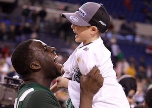"""You picked who?"": Steven Izzo with Draymond Green in 2009. (Getty)"