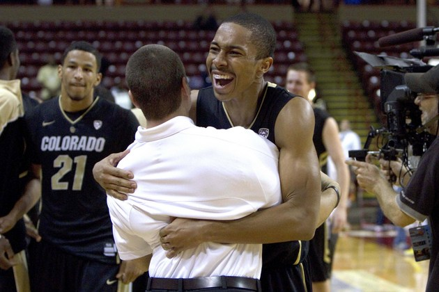 Spencer Dinwiddie celebrates after Colorado's 60-58 victory over Baylor (US Presswire)