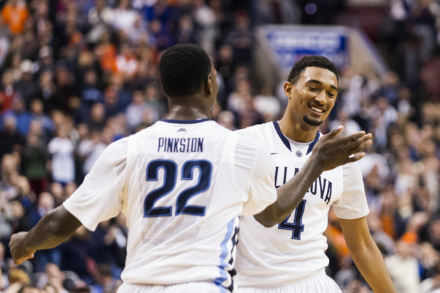 Darrun Hilliard celebrates with JayVaughn Pinkston during Saturday's win (USA TODAY Sports Images)