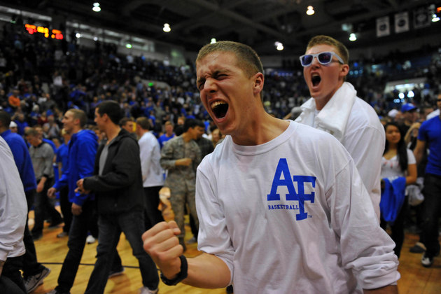 An Air Force fan reacts to the win over San Diego State (USA Today Sports Images)