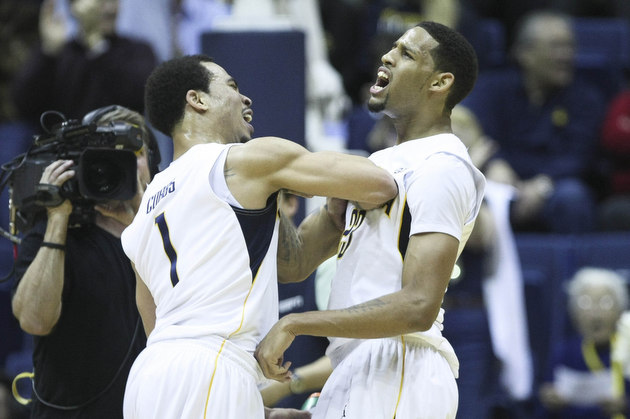 Justin Cobbs and Allen Crabbe celebrate during Cal's win over UCLA (USA Today Sports Images)