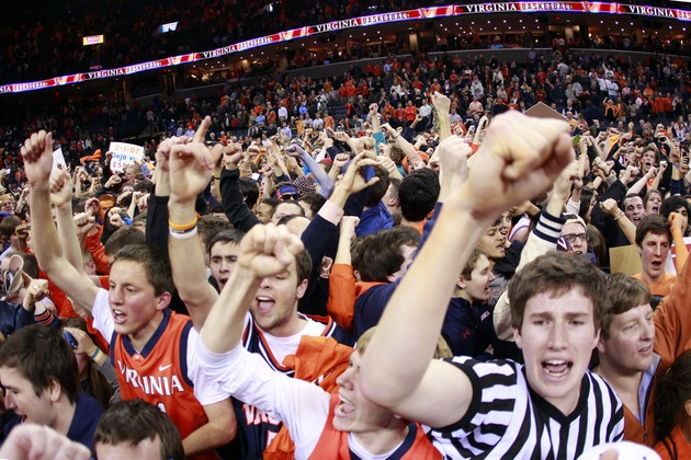 Virginia fans stormed the court after beating Duke on Thursday night (USA Today Sports Images)