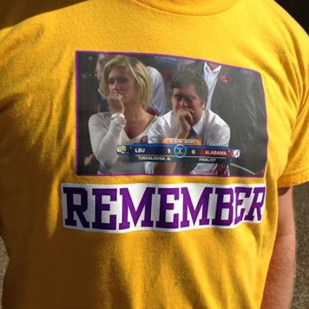 Alabama produces a collection of T-shirts commemorating the win over LSU