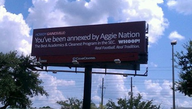 Texas A&M billboard claiming 'annexation' goes up in Gainesville while Aggies fans groan