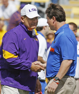 LSU coach Les Miles and Florida coach Will Muschamp (AP)