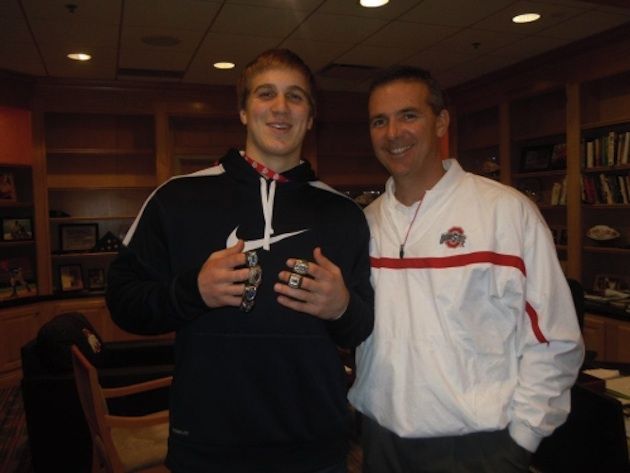 Recruit Alex Anzalone and Ohio State coach Urban Meyer (courtesy of Reading Eagle)