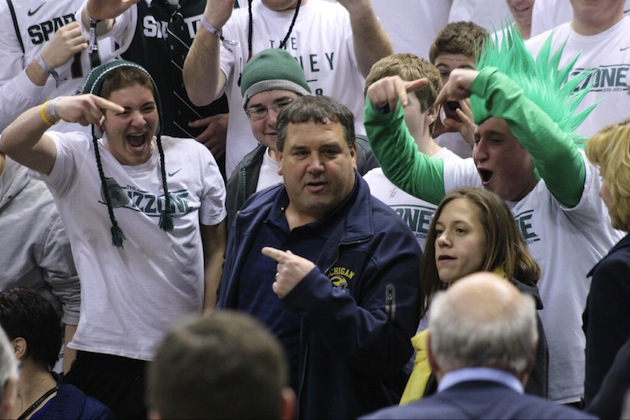 Brady Hoke ventures into the Izzone and gets an earful from Michigan State fans