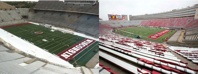 New turf (courtesy @BrandonHarrison) and old turf (Jeff Hanisch/US Presswire)