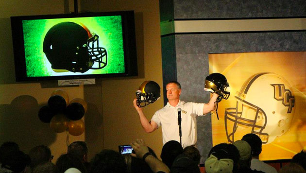 The reveal of the very popular alternate black helmets. (Central Florida Golden Knight Facebook page)
