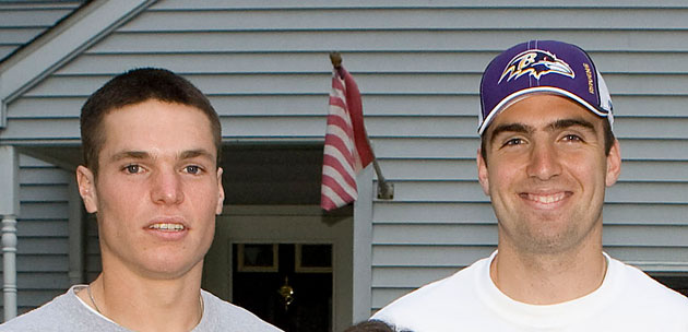 Mike Flacco (left) with his big brother Joe in 2008. (Jeff Fusco/Getty Images)