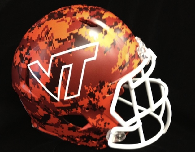 Virginia Tech introduces a new camouflage helmet for Military Appreciation