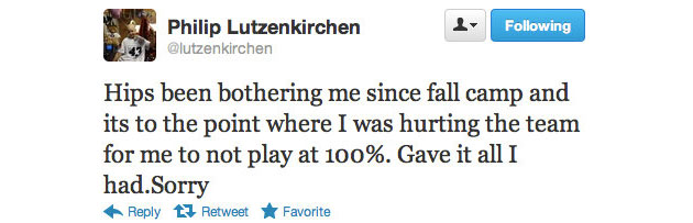 Philip Lutzenkirchen posts heartfelt Twitter messages following season-ending injury