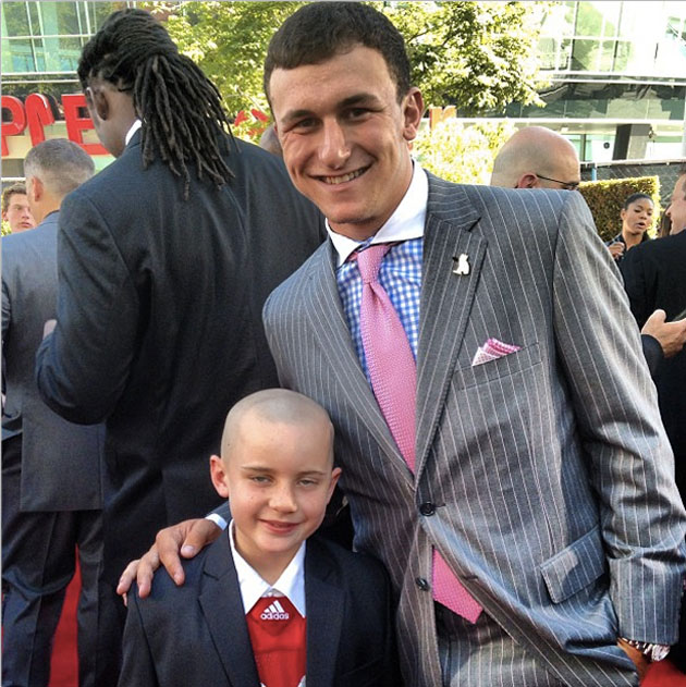 Nebraska fan Jack Hoffman and Johnny Manziel. (image via http://instagram.com/jmanziel2)
