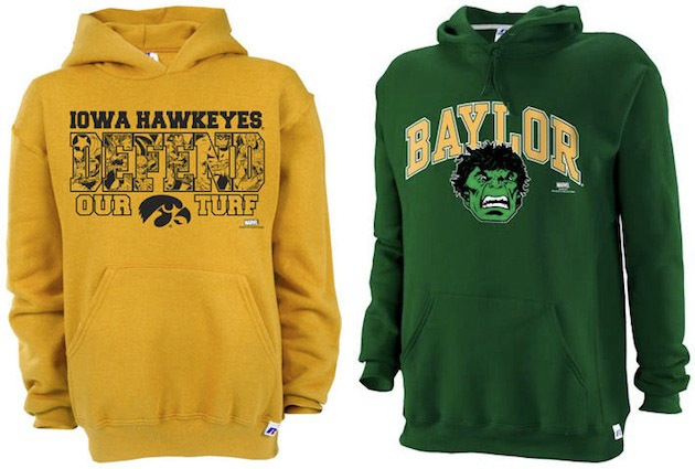 Marvel Comics and collegiate apparel together at last