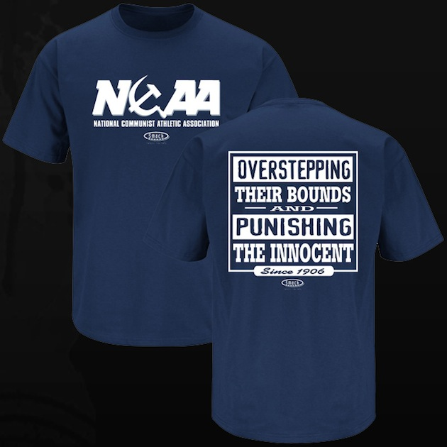 Unlicensed T-shirt likens the NCAA to a Communist entity