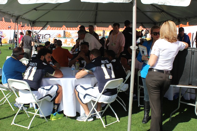 Notre Dame was later in the day, so some players got to sit under a tent
