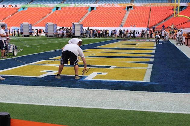 Notre Dame's logo being painted