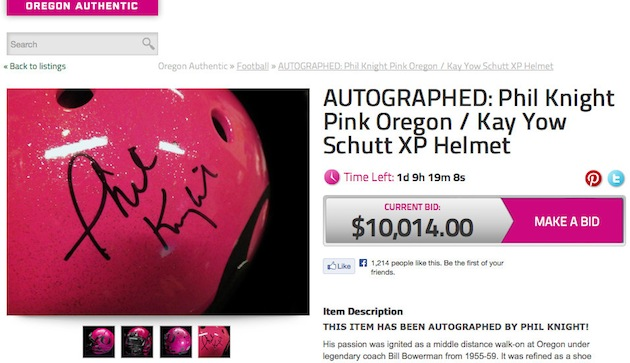 Oregon's pink Phil Knight autographed helmet auctioning for more than 10k